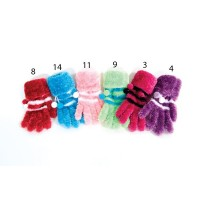 Gants furry pompons