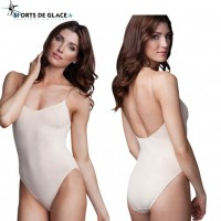 Nude camisole leotard with clear adjustable straps