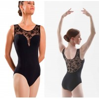 Black Elegant floral lace leotard