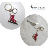 Porte- clés patins à glace rouge