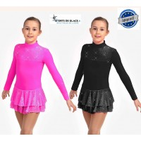 robe de patinage polaire scintillante rose ou noire
