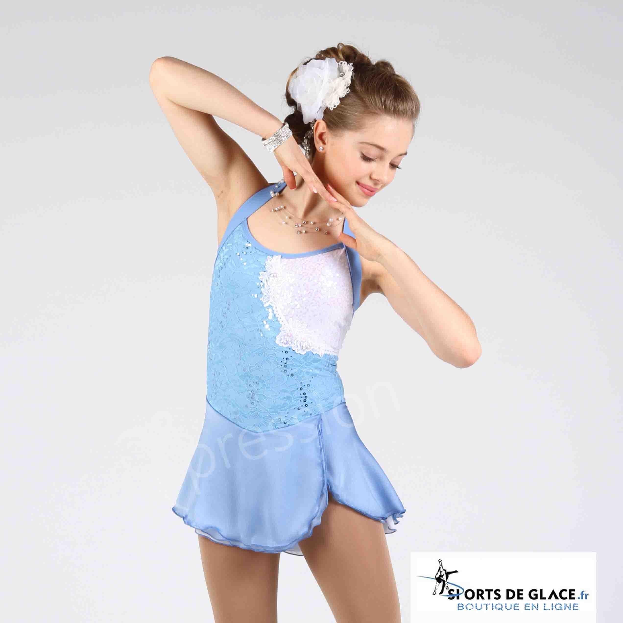 1332e4c006 elite xpression Lace Blue Powder Skating Dress