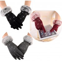 touch screen rhinestones gloves
