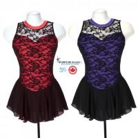 Robe de patinage artistique overlace noire et rouge ou violet