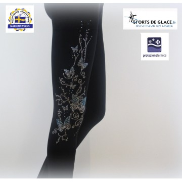 Legging polaire strass papillons
