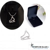 collier pendentif patin cristal