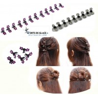 12 Mini hair clips with crystal flowers