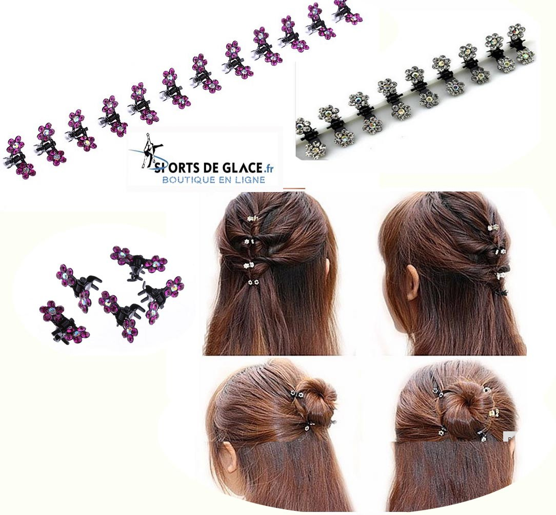 12 Mini Pinces Crabe Cheveux Strass Sports De Glace France