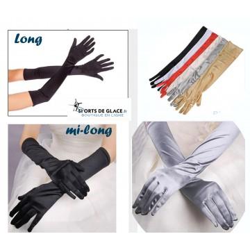 gants satinés longs