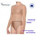 skin coloured long sleeves transparent leotard