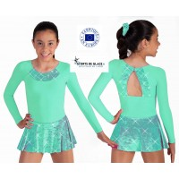 Aqua Skating dress with rhinestones