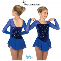 Robe de patinage cristal color bleu royal