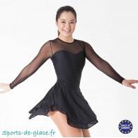 Robe de patinage Noire lycra et mesh