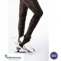 Stirrup skating tights with rhinestones