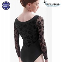 Black lace leotard with long sleeves