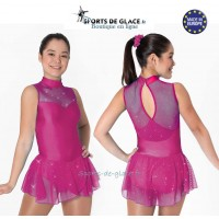 Robe de patinage lycra rose fuschia