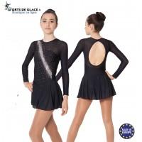 Robe de patinage Noire strass argentés