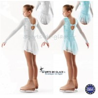 Robe de patinage artistique en velours aqua , blanc ou noir