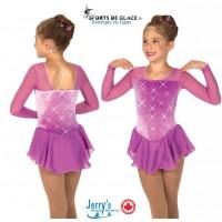 Robe de patinage cristal Rhinestone - rose violet