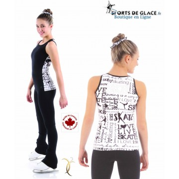 Débardeur motifs patinage SK8 noir et blanc