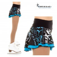 Black and Blue double ice skating skirt
