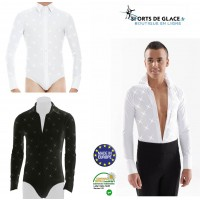 Latin ballroom skating men shirt with rhinestones