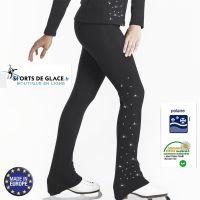 Fleece skating pants with rhinestones