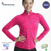 veste de patinage polaire strassée rose