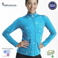 veste de patinage polaire strassée turquoise