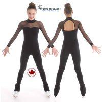 Long sleeves black skating unitard